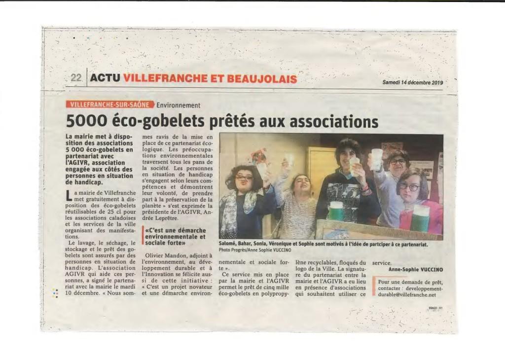 Article Le Progrès du 14 12 19 - Partenariat Eco gobelets_page-0001